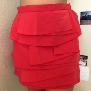 BCBG BCBGMAXAZRIA Tiered Layered Red Skirt